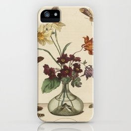 Glass Vase With Flowers and Butterflies iPhone Case