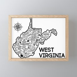 West Virginia Map Framed Mini Art Print