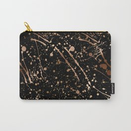 Modern abstract art black gold paint splatters Carry-All Pouch