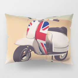Union Jack Scooter Travel poster, Pillow Sham