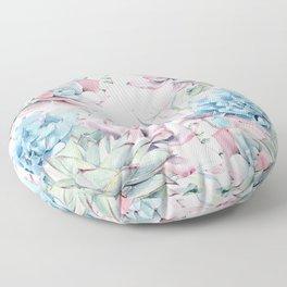 Pretty Pastel Succulents Garden 2 Floor Pillow