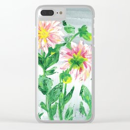 Dahlias on a cloudy day Clear iPhone Case