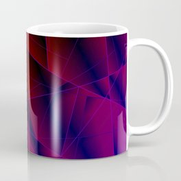 Abstract strict pattern of burgundy and overlapping purple triangles and irregularly shaped lines. Coffee Mug
