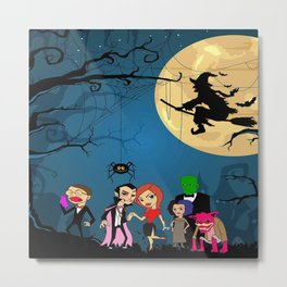 halloween dracula and friends Metal Print