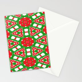 Red, Green and White Kaleidoscope 3372 Stationery Cards