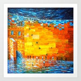 Jerusalem Wailing Wall Original Acrylic Palette Knife Painting Art Print