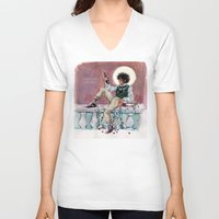 les miserables V-neck T-shirts featuring les miseràbles: lux in tenebris by Daniela Viçoso