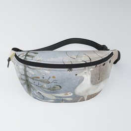 Winter Watercolor: Reindeer and Tree Fanny Pack