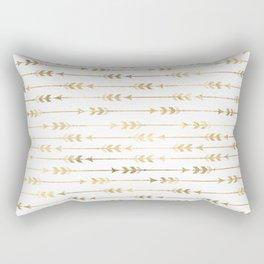 White & Gold Arrow Pattern Rectangular Pillow