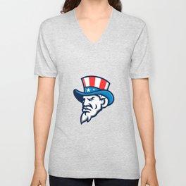 Uncle Sam Wearing USA Top Hat Mascot Unisex V-Neck