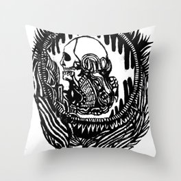 In Hell, We Trust Throw Pillow