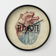 Love is...heart and reason Wall Clock