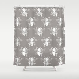 The Bee's Knees Taupe Shower Curtain
