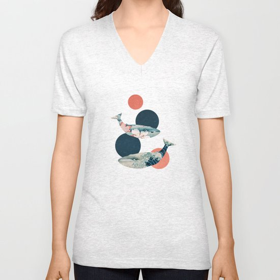 Whales and Polka Dots Unisex V-Neck