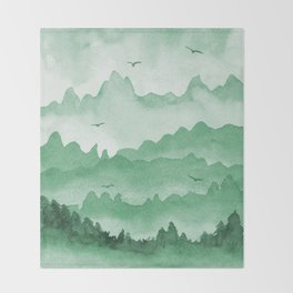 misty mountains - green palette Throw Blanket