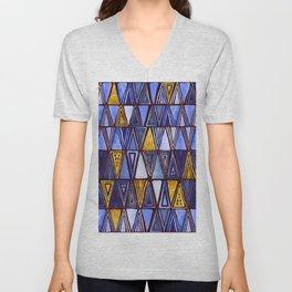 Indigo Blue Gold Tribal Ethnic Triangles Pattern Unisex V-Neck