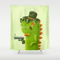 dino Shower Curtains featuring Dino bandito by Lime