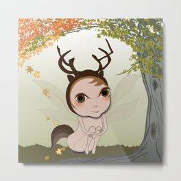 Deery Fairy under Autumn Leaves Metal Print