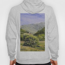Pastures and Mount Mansfield Oil Landscape Vermont Painting Hoody