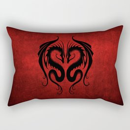 Black and Red Twin Tribal Dragons Rectangular Pillow