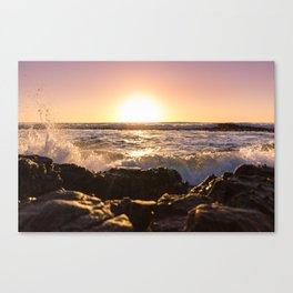 Wave splash against pink sunset - Landscape Photography Canvas Print