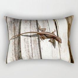 Watercolor Lizard, Brown Anole 02, Gulf Island Beach, Florida Rectangular Pillow