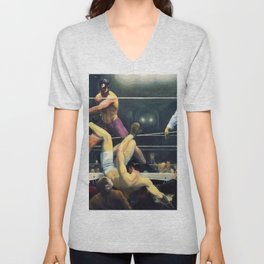 Classical Masterpiece 'Dempsey and Firpo' by George Bellows Unisex V-Neck