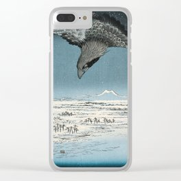 Raven Over Winter Landscape Clear iPhone Case