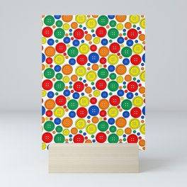 colorful scattered buttons Mini Art Print
