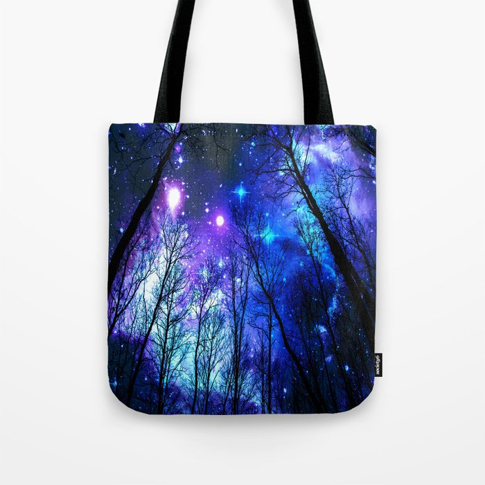 black trees purple blue space copyright protected Tote Bag