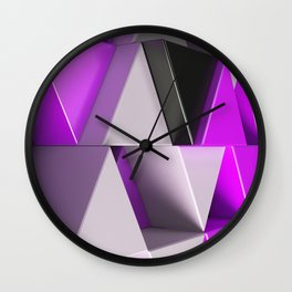 Pattern of black, white and purple triangle prisms Wall Clock