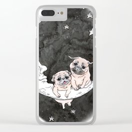 Paper Moon Pug Clear iPhone Case