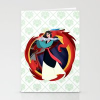 mulan Stationery Cards featuring Mulan by Karrashi