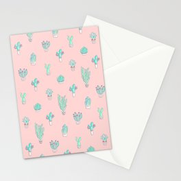 Little succulent pattern on pastel pink Stationery Cards