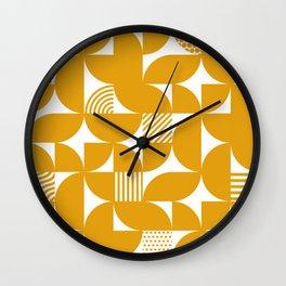 Mustard Mid Century Bauhaus Semi Circle Pattern Wall Clock