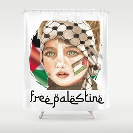 Free Palestine in watercolor Shower Curtain