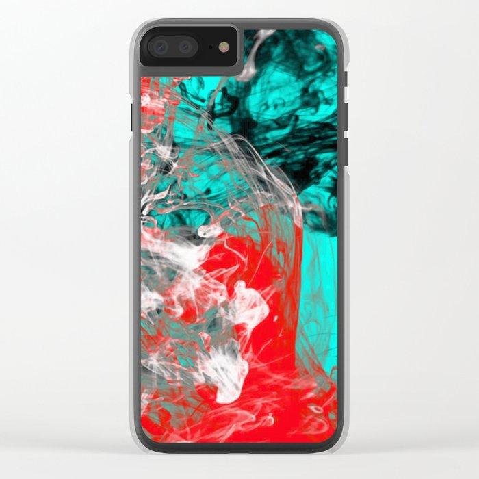 Marbled Collision - Abstract, red, blue, black and white mixed paint artwork Clear iPhone Case