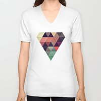 patterns V-neck T-shirts featuring tryypyzoyd by Spires