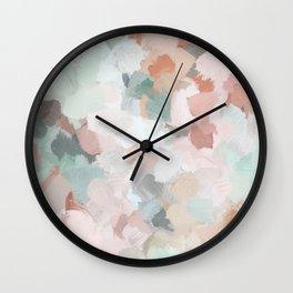 Blush Pink Mint Green Blue Coral Peach Abstract Flower Wall Art Springtime Painting Modern Wall Art Wall Clock