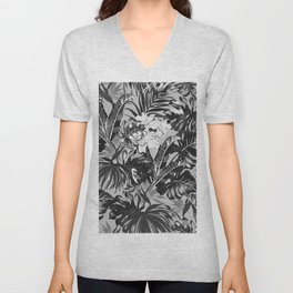 Bird of Paradise Hawaii Rainforest Black and White Unisex V-Neck