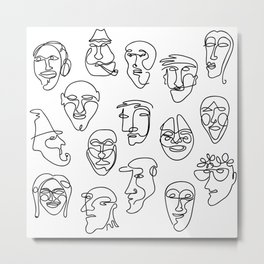 Single Line Face Design Pattern Metal Print