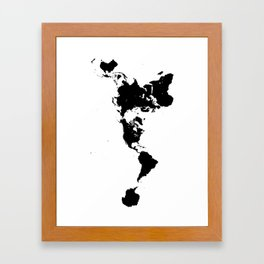 Dymaxion World Map (Fuller Projection Map) - Minimalist Black on White Framed Art Print