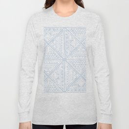 Simply Tribal Tile in Sky Blue on Lunar Gray Long Sleeve T-shirt