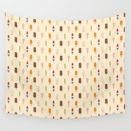 Ice Cream Pattern, Popsicles, Bomb Pops, Cones Wall Tapestry