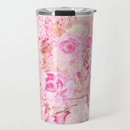 Country chic pink coral watercolor summer floral Travel Mug