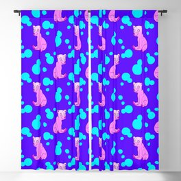 Little bears. Cute adorable funny pink baby bear cubs, bold blue retro dots midnight blue pattern Blackout Curtain