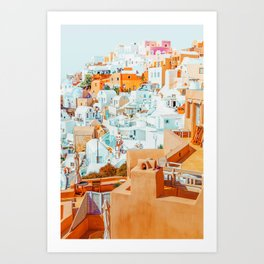 Santorini Vacay #photography #greece #travel Art Print