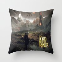 lord of the ring Throw Pillows featuring Shadow of mordor/ Lord of the ring original by Alphonse Chèvre