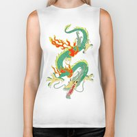 chinese Biker Tanks featuring Chinese Dragon by J&C Creations