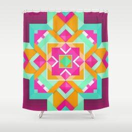Geometric Tribal Mandala Inspired Modern Trendy Vibrant (Mint Green, Maroon, Wine, Hot Pink, Orange) Shower Curtain